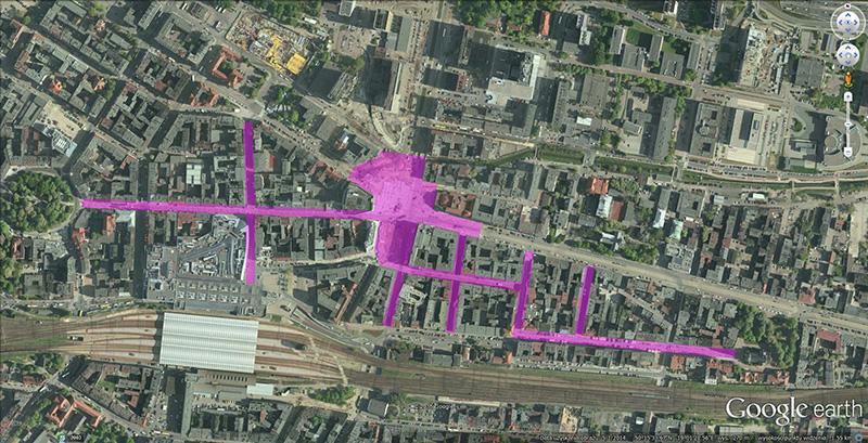 Przestrzenie dla pieszych w śródmieściu Katowic