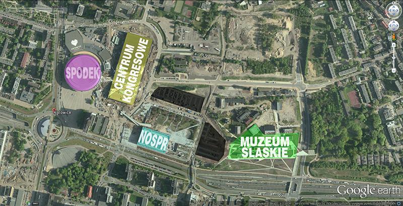 Strefa Kultury - na czarno zaznaczone parkingi naziemne