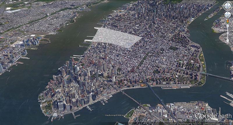 Dolny Manhattan z wyróżnionym Greenwich Village